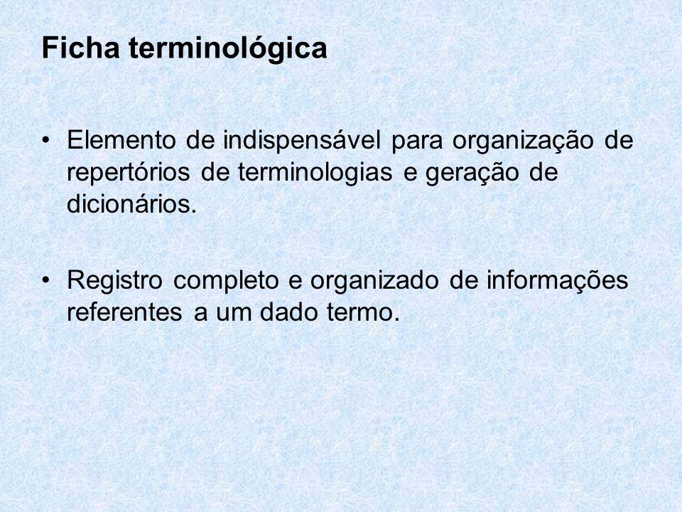 Ficha terminológica Elemento de indispensável para organização de repertórios de terminologias e geração de dicionários.