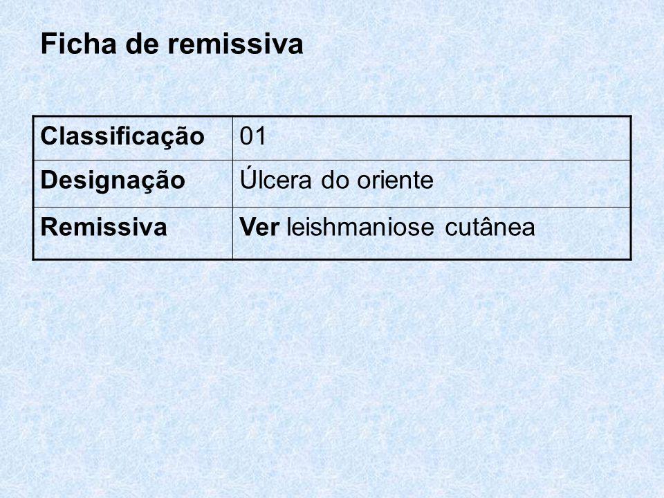 Ficha de remissiva Classificação 01 Designação Úlcera do oriente