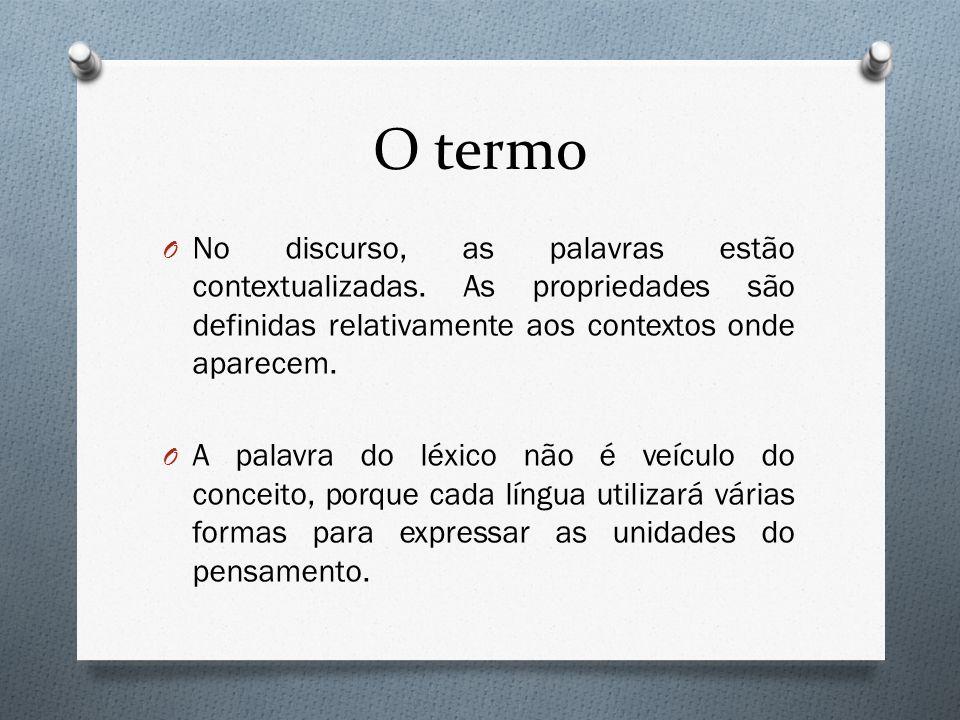O termoNo discurso, as palavras estão contextualizadas. As propriedades são definidas relativamente aos contextos onde aparecem.