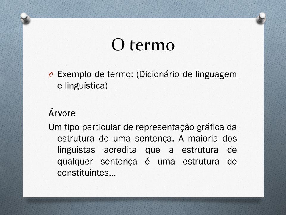 O termo Exemplo de termo: (Dicionário de linguagem e linguística)