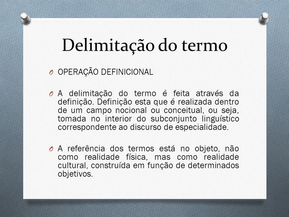 Delimitação do termo OPERAÇÃO DEFINICIONAL