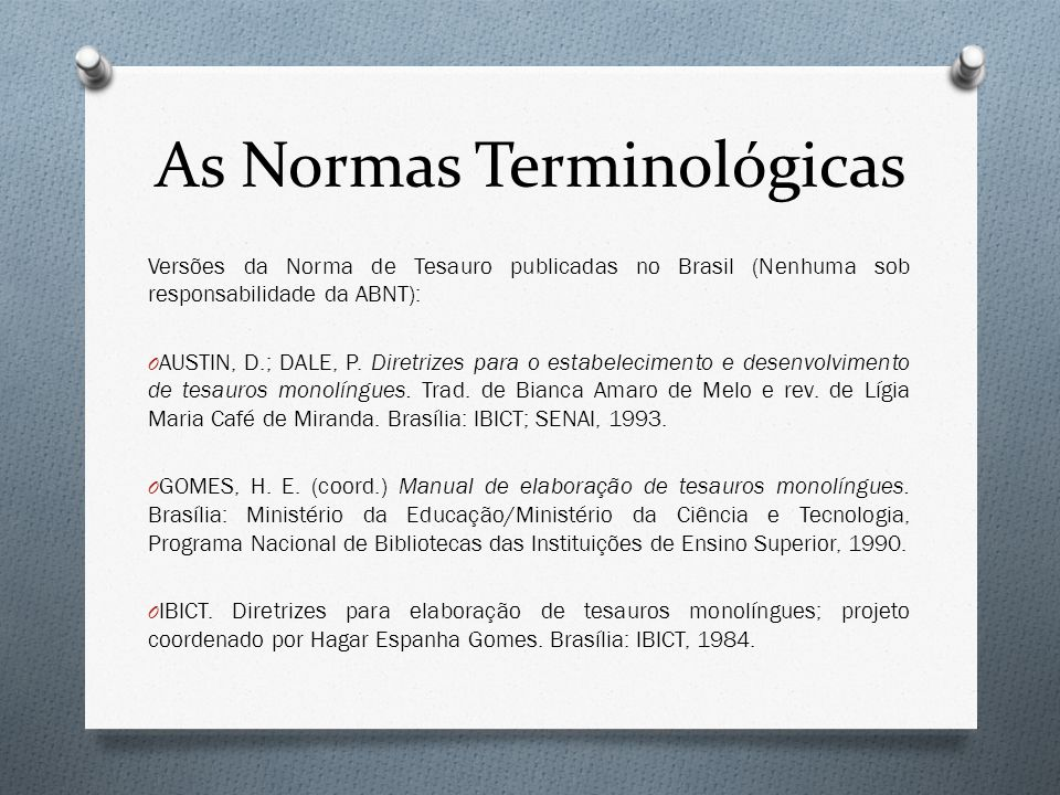 As Normas Terminológicas