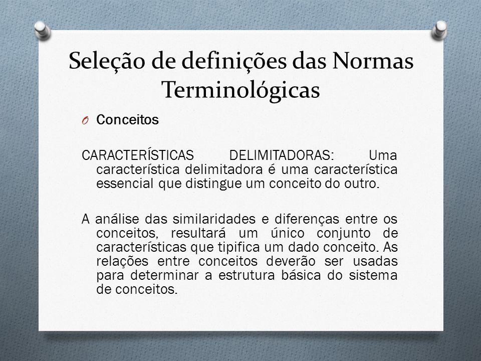 Seleção de definições das Normas Terminológicas