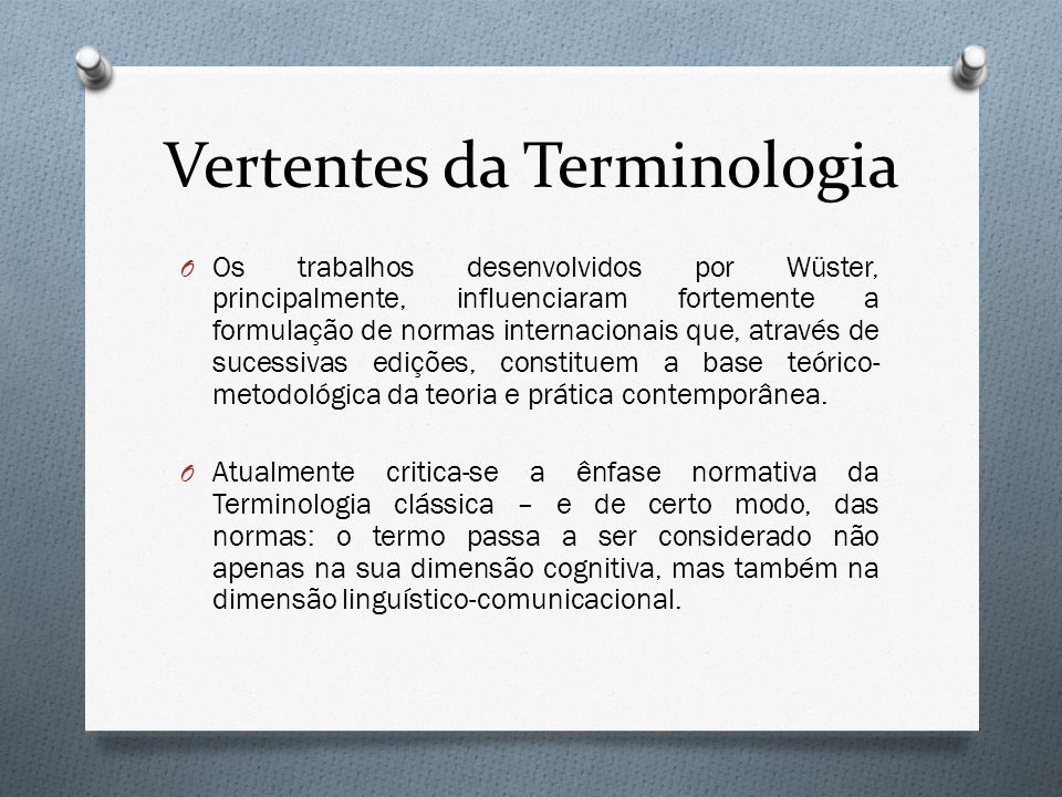Vertentes da Terminologia