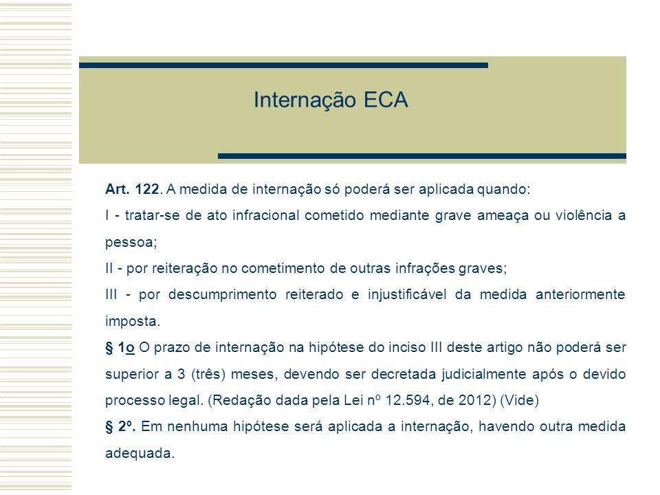 Internação ECA Art. 122. A medida de internação só poderá ser aplicada quando:
