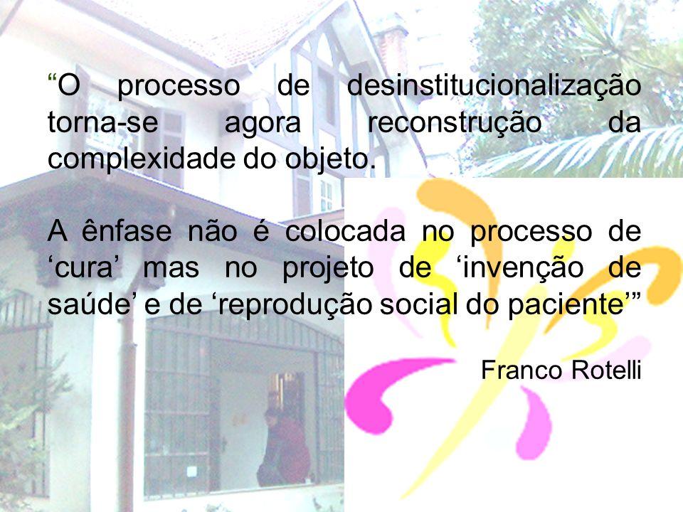 O processo de desinstitucionalização torna-se agora reconstrução da complexidade do objeto.