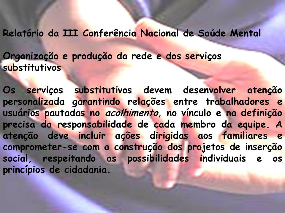 Relatório da III Conferência Nacional de Saúde Mental