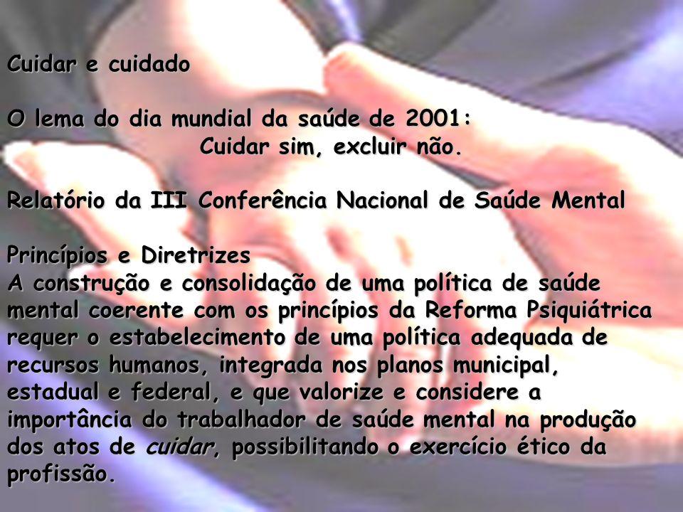Cuidar e cuidadoO lema do dia mundial da saúde de 2001: Cuidar sim, excluir não. Relatório da III Conferência Nacional de Saúde Mental.