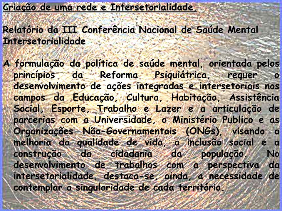 Criação de uma rede e Intersetorialidade.