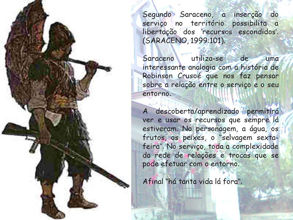 Segundo Saraceno, a inserção do serviço no território possibilita a libertação dos 'recursos escondidos'. (SARACENO, 1999:101).