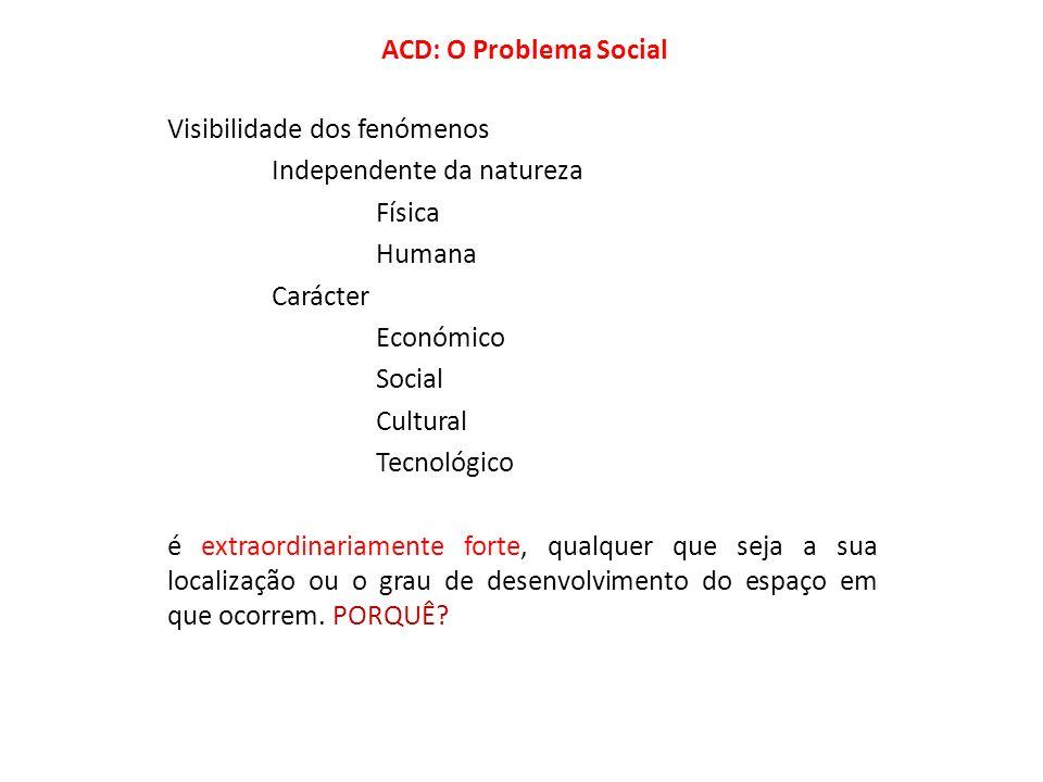 ACD: O Problema Social Visibilidade dos fenómenos. Independente da natureza. Física. Humana. Carácter.