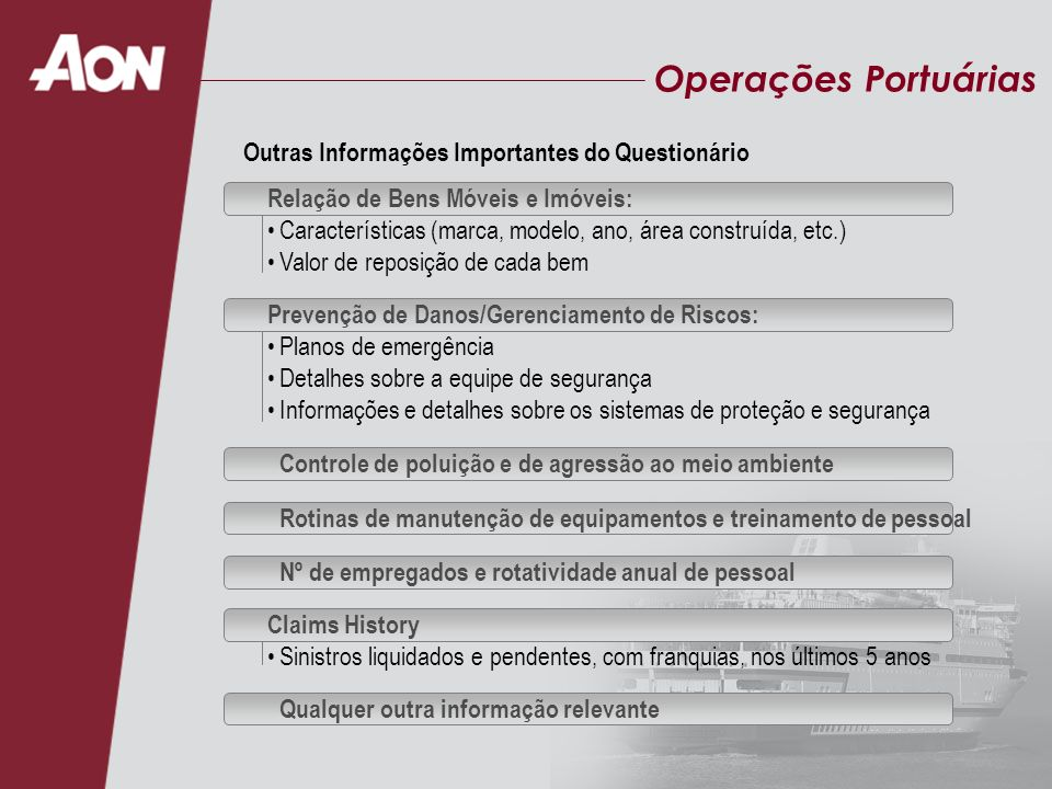 Operações Portuárias Outras Informações Importantes do Questionário