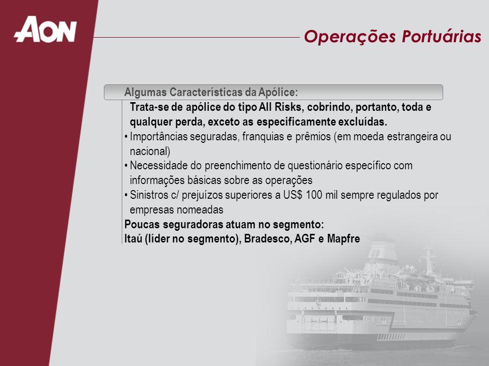 Operações Portuárias Algumas Características da Apólice:
