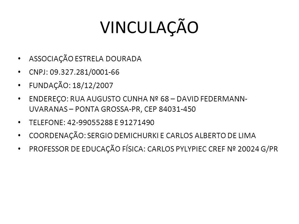 VINCULAÇÃO ASSOCIAÇÃO ESTRELA DOURADA CNPJ: 09.327.281/0001-66