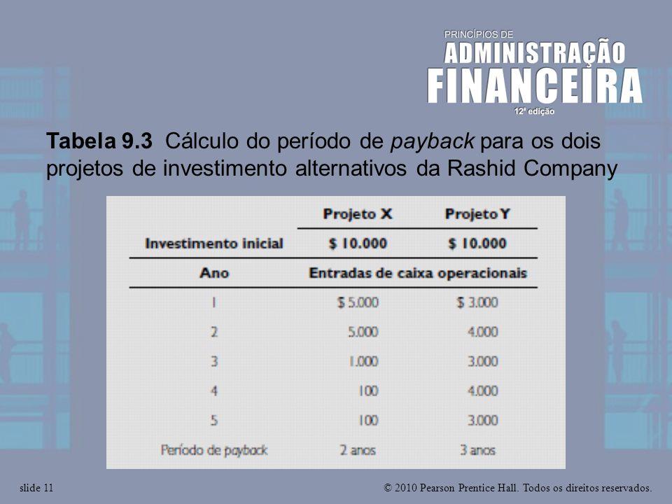 Tabela 9.3 Cálculo do período de payback para os dois projetos de investimento alternativos da Rashid Company