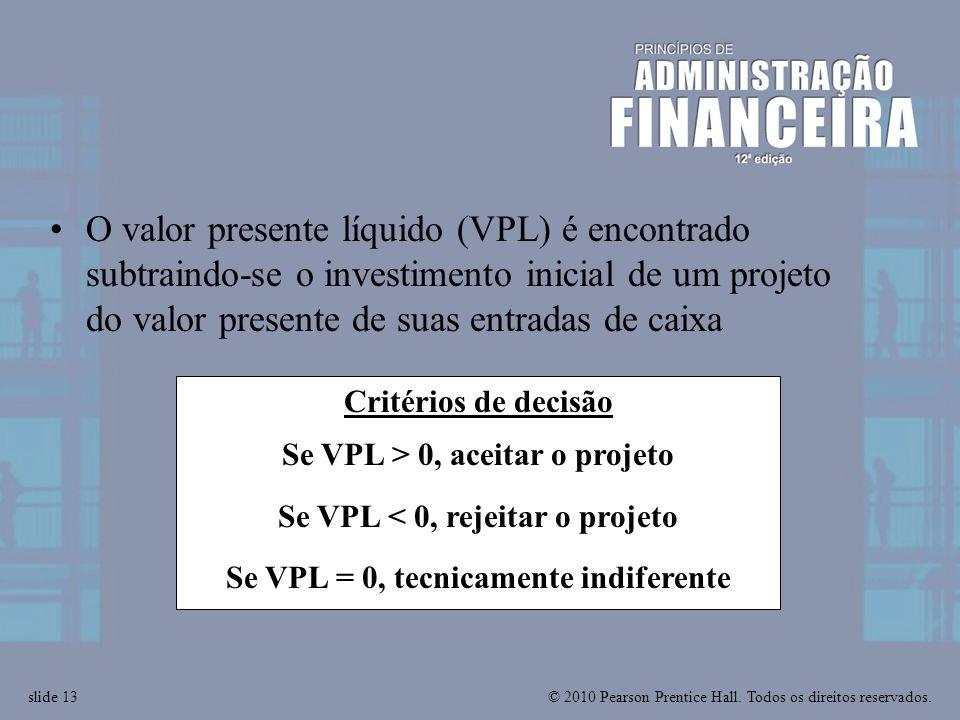 O valor presente líquido (VPL) é encontrado subtraindo-se o investimento inicial de um projeto do valor presente de suas entradas de caixa
