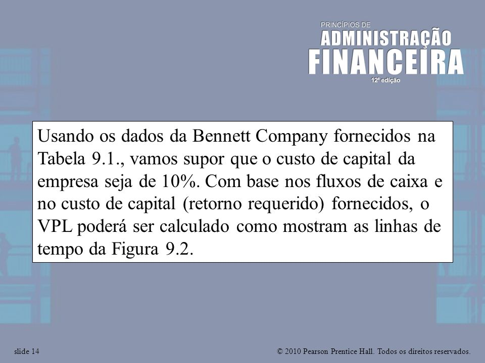 Usando os dados da Bennett Company fornecidos na Tabela 9. 1