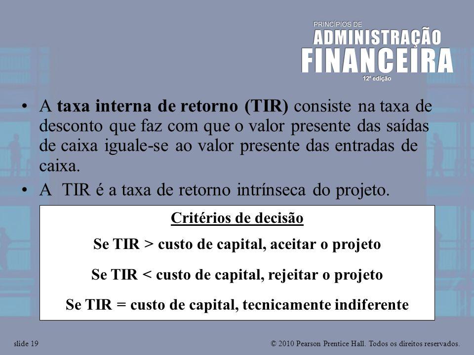 A TIR é a taxa de retorno intrínseca do projeto.