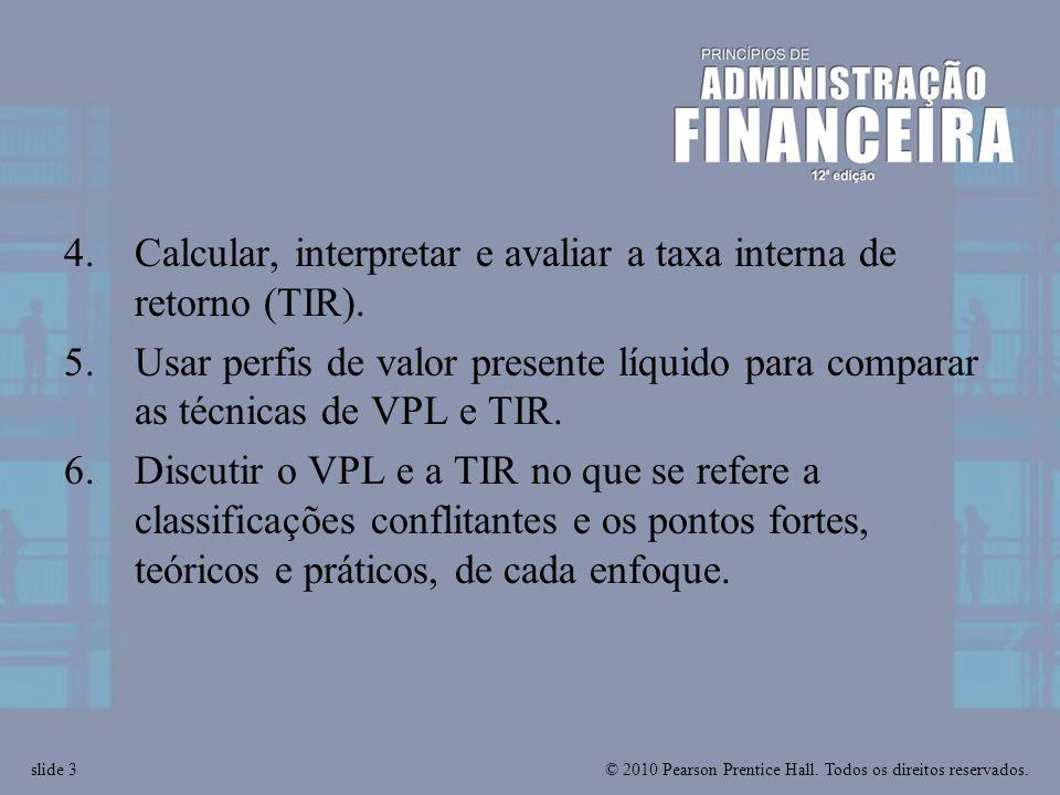 Calcular, interpretar e avaliar a taxa interna de retorno (TIR).