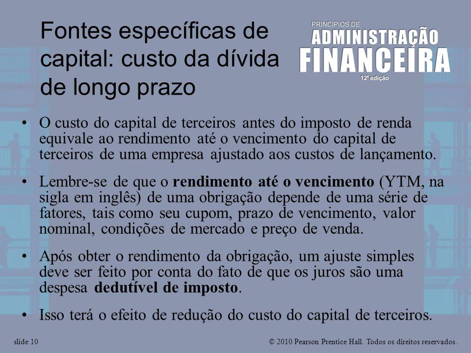 Fontes específicas de capital: custo da dívida de longo prazo