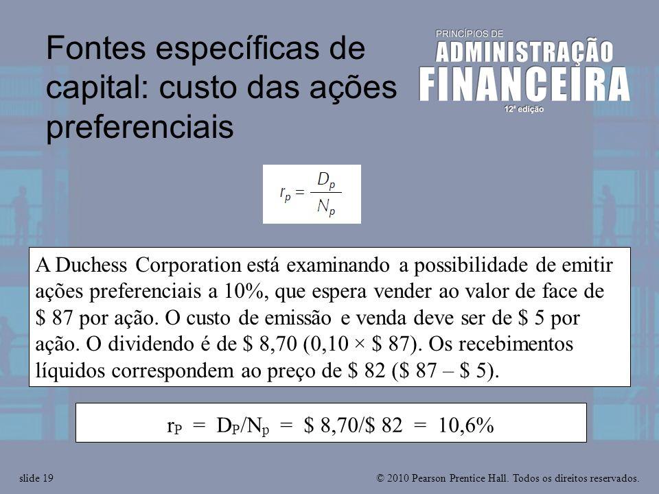 Fontes específicas de capital: custo das ações preferenciais