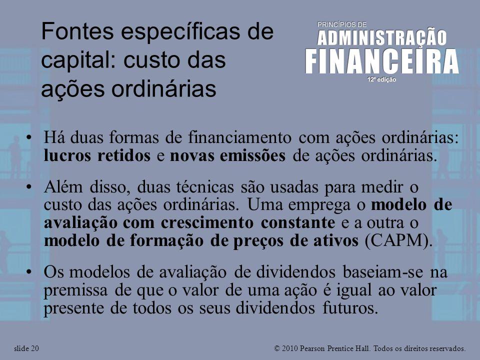 Fontes específicas de capital: custo das ações ordinárias