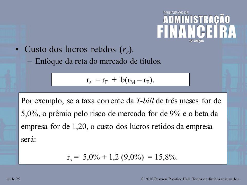 Custo dos lucros retidos (rr).
