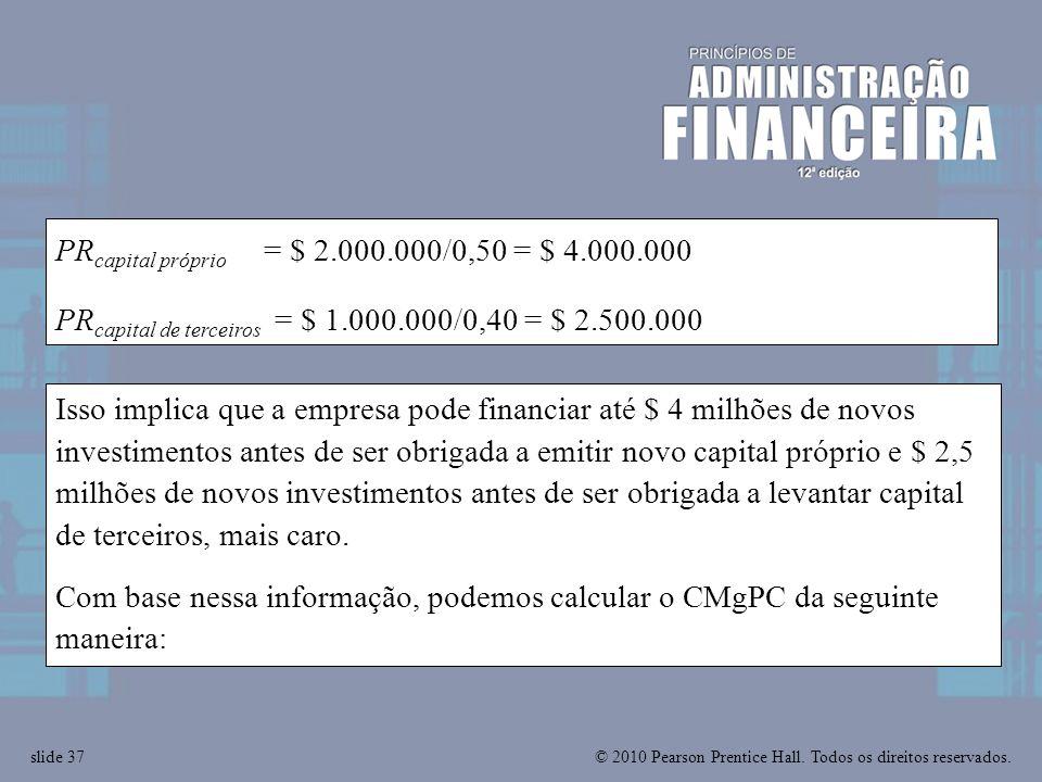 PRcapital próprio = $ 2.000.000/0,50 = $ 4.000.000