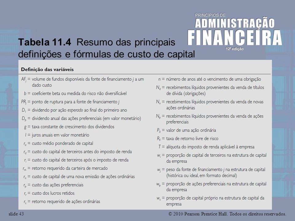 Tabela 11.4 Resumo das principais definições e fórmulas de custo de capital