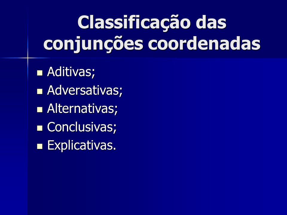 Classificação das conjunções coordenadas