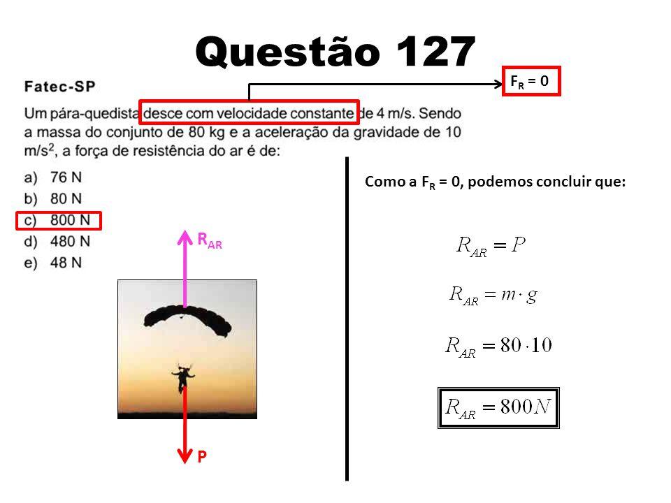 Questão 127 FR = 0 Como a FR = 0, podemos concluir que: RAR P