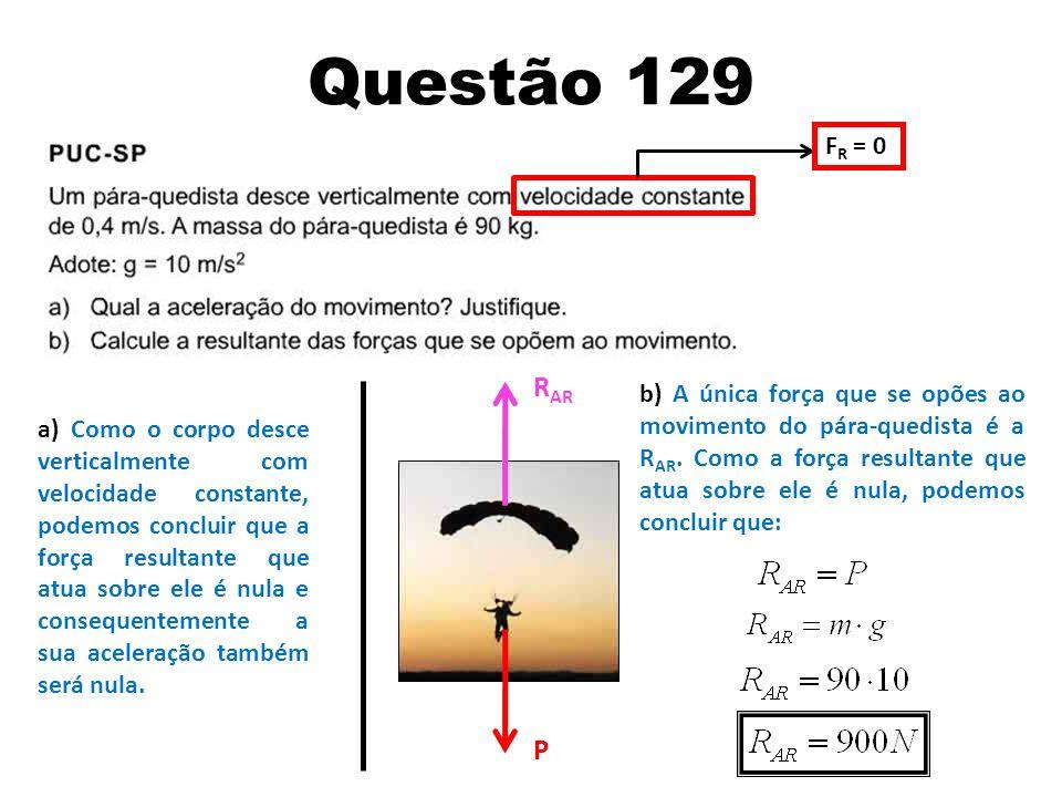 Questão 129 FR = 0. RAR.