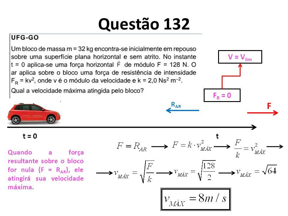 Questão 132 F V = Vlim FR = 0 t = 0 t RAR