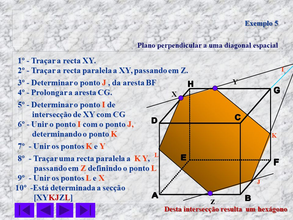 Exemplo 5Plano perpendicular a uma diagonal espacial. 1º - Traçar a recta XY. 2º - Traçar a recta paralela a XY, passando em Z.