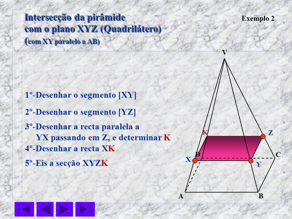 Intersecção da pirâmide com o plano XYZ (Quadrilátero)