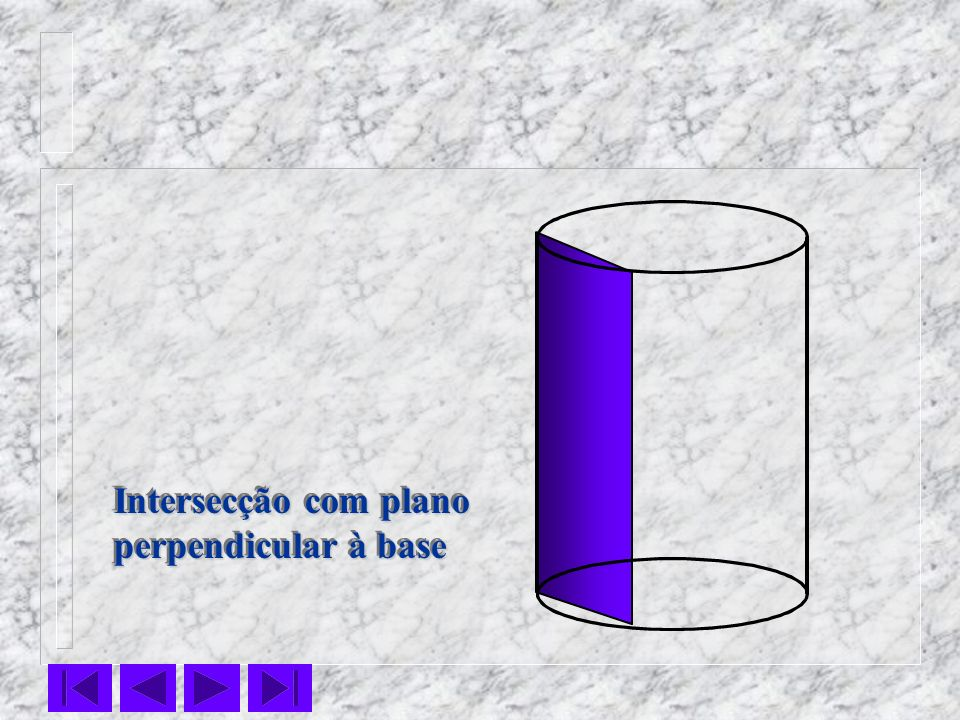 Intersecção com plano perpendicular à base