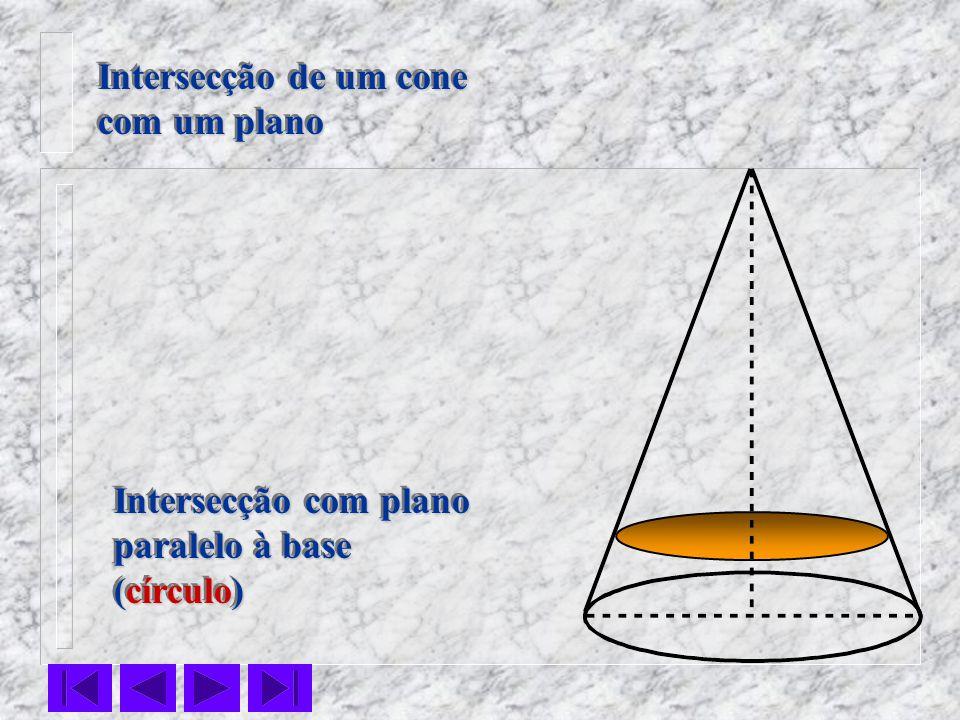 Intersecção de um cone com um plano Intersecção com plano paralelo à base (círculo)