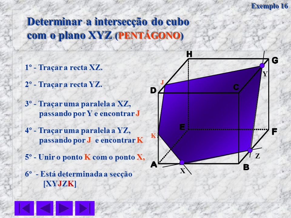 Determinar a intersecção do cubo com o plano XYZ (PENTÁGONO)