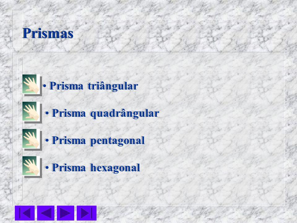 Prismas Prisma triângular Prisma quadrângular Prisma pentagonal