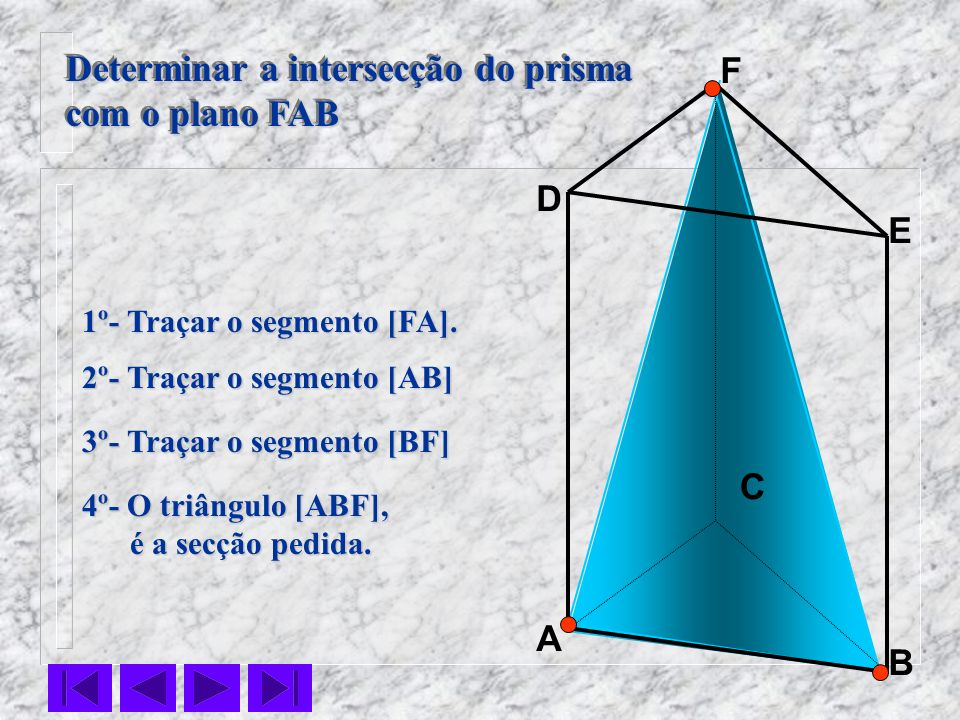 Determinar a intersecção do prisma com o plano FAB