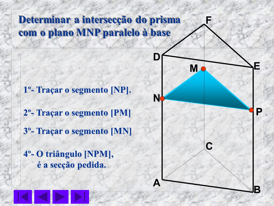 Determinar a intersecção do prisma com o plano MNP paralelo à base