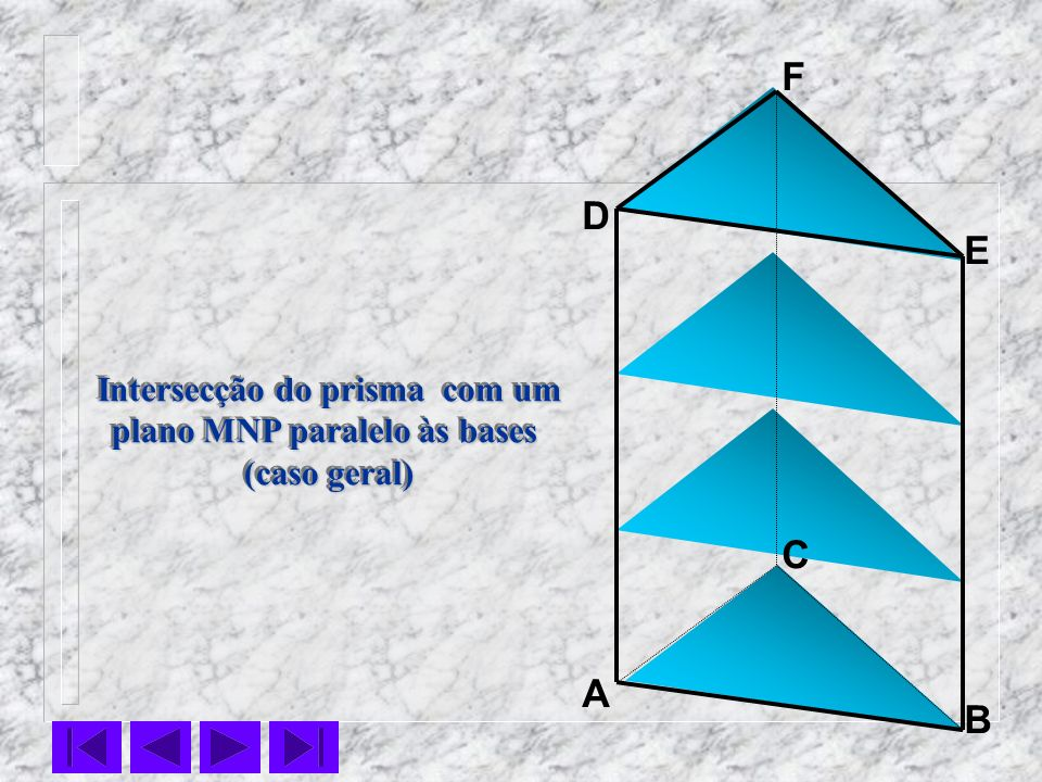 Intersecção do prisma com um plano MNP paralelo às bases