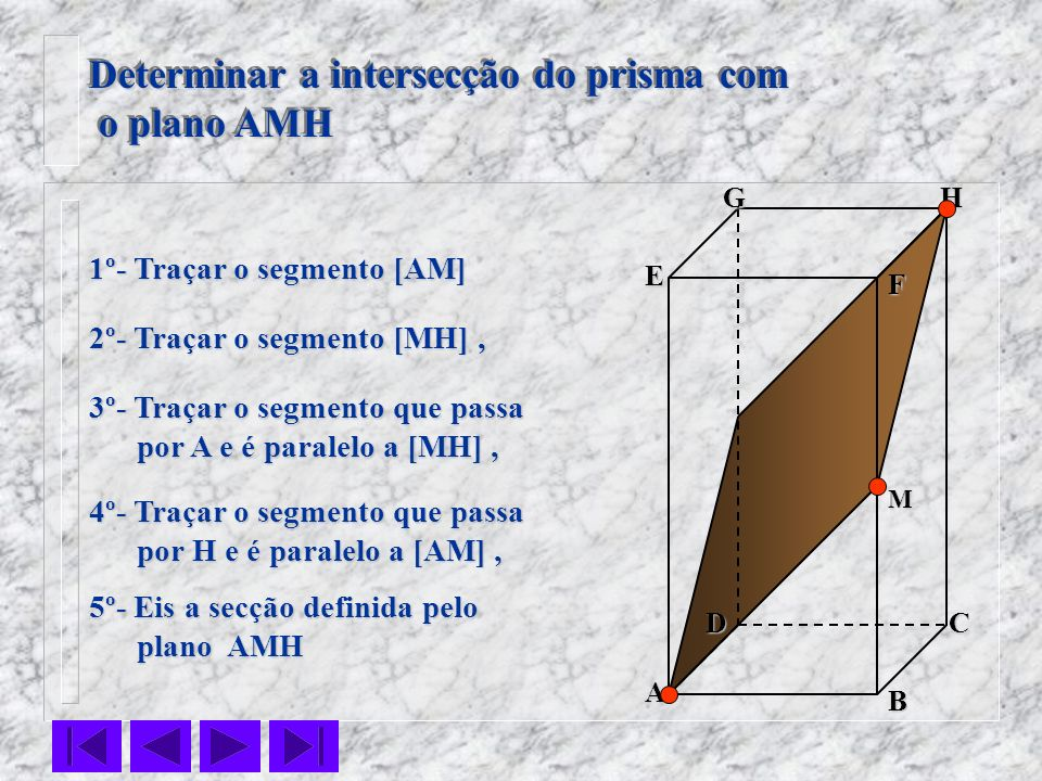 Determinar a intersecção do prisma com o plano AMH