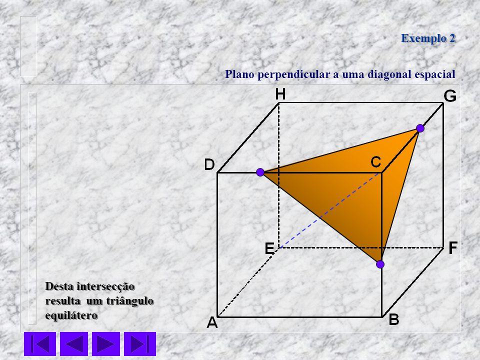 Exemplo 2Plano perpendicular a uma diagonal espacial.