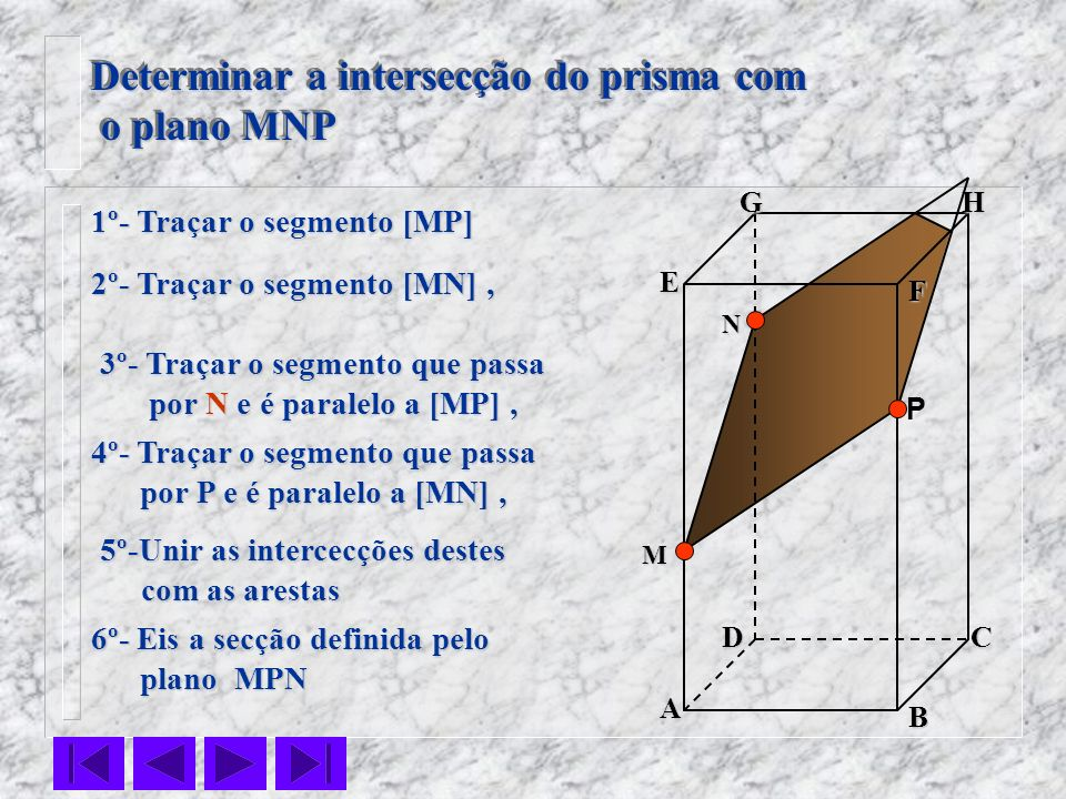 Determinar a intersecção do prisma com o plano MNP