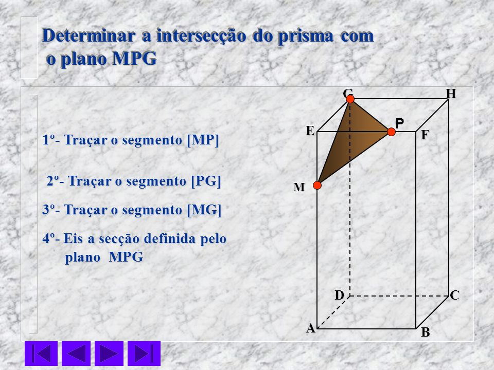 Determinar a intersecção do prisma com o plano MPG