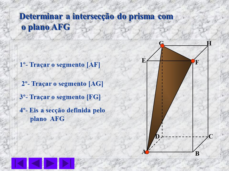 Determinar a intersecção do prisma com o plano AFG