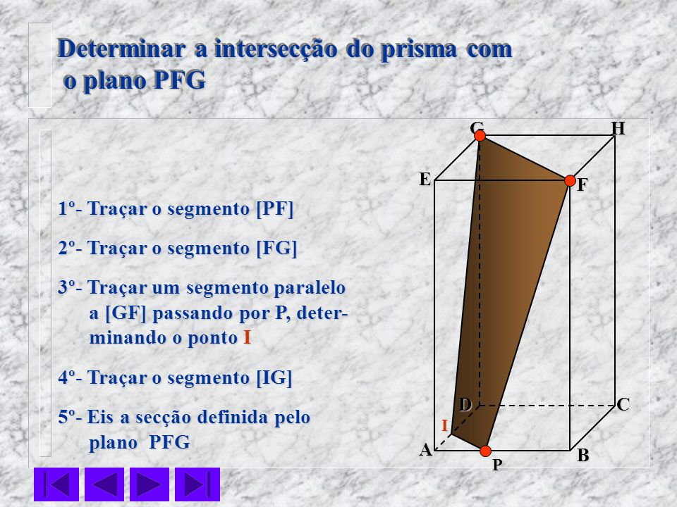 Determinar a intersecção do prisma com o plano PFG