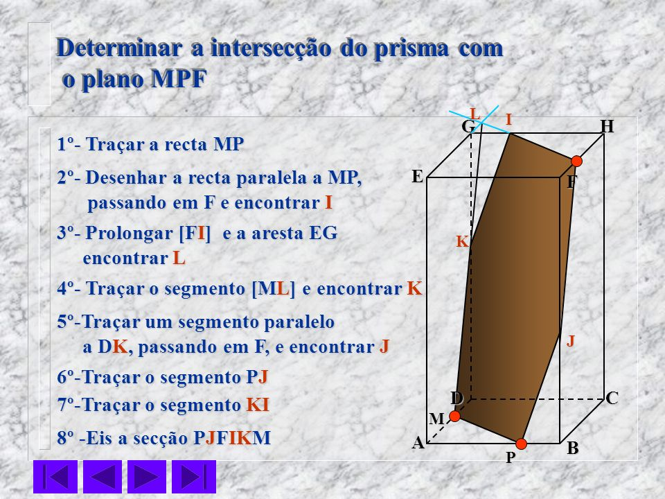 Determinar a intersecção do prisma com o plano MPF
