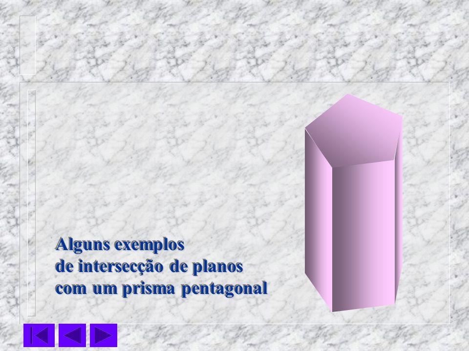 Alguns exemplos de intersecção de planos com um prisma pentagonal